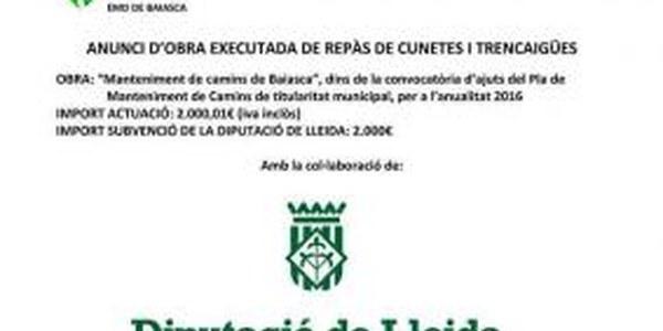 ANUNCI D'OBRA EXECUTADA DE MANTENIMENT DE CAMINS DE BAIASCA 2017