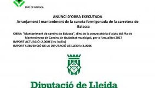 ANUNCI D'OBRA EXECUTADA DE MANTENIMENT DE CAMINS