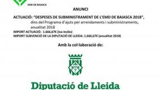 ANUNCI OBRA EXECUTADA DE SUBMINISTRAMENTS I ARRENDAMENTS 2018