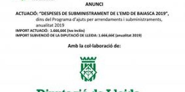 ANUNCI OBRA EXECUTADA DESPESES DE SUBMINISTRAMENT ENLLUMENAT PÚBLIC 2019
